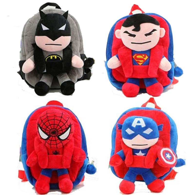 3D The Avengers Plush Backpacks Toys for kids 2016 New Ironman Superman Spiderman Batman doll plush schoolbag mochila