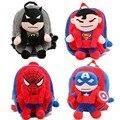 3D The Avengers Mochilas De Pelúcia Brinquedos para as crianças 2016 Novo Superman Spiderman Batman Ironman boneca de pelúcia mochila mochila