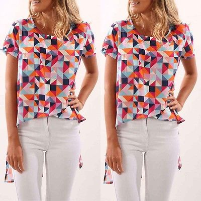 Women Casual Short Sleeve O Neck Loose Blouse Tops Slim Geometric Fight Color Shirts Top Blouse Summer Clothes