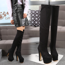 New Winter Cheap Comfort Womens Fashion Shoes Black Suede Over Knee High Heel Boots Ladies