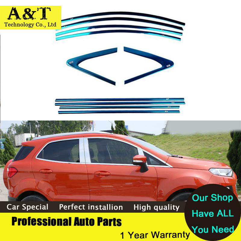 Full Window Trim Decoration Strips Exterior Accessories For Ford Ecosport 2014-2017 Stainless Steel high quality car styling stainless steel full window with center pillar decoration trim car accessories for hyundai ix35 2013 2014 2015 24