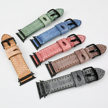Green genuine leather watch accessories for iwatch apple 38mm 42mm