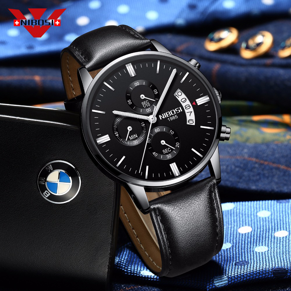 Image 2 - NIBOSI Mens Watch  Luxury Top Brand Fashion Watches Relogio Masculino Military Army Watches Analog Quartz Wristwatches Leatherleather brandleather fashionleather leather -