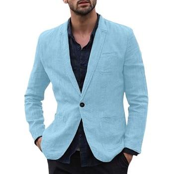 Men Slim Fit Cotton Blend Solid Long Sleeve Thin Suits blazer masculino Outwear blazer hombre bleiser masculino Dropshipping