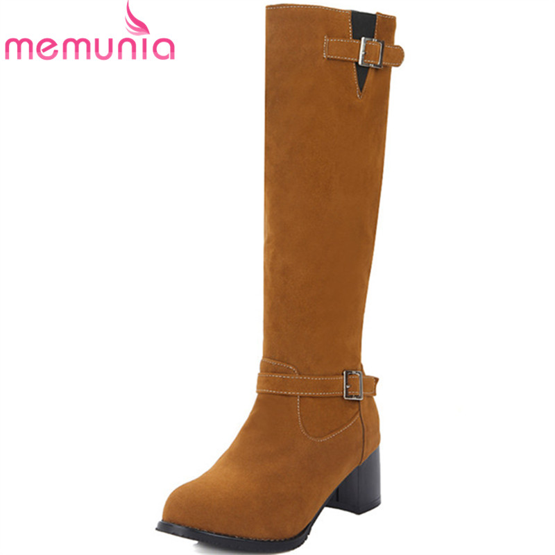 MEMUNIA Big size 34-43 autumn winter boots woman fashion punk knee high boots square heels shoes 5cm PU round toe fashion beige woman snow boots winter square heels round toe sexy pu winter shoes for lady high heels plus size 34 43