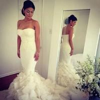 Kim Kardashian Romantic Strapless Long White Organza sweetheart Mermaid Bridal Gowns Robe De Marriage Mother of Bride Dresses