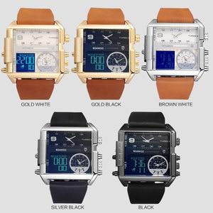 Image 3 - BOAMIGO Sport Fashion Men Military Dual Time Watch Multiple Time Zone Luxury Chronograph Watch Leather Square Quartz Wristwatch
