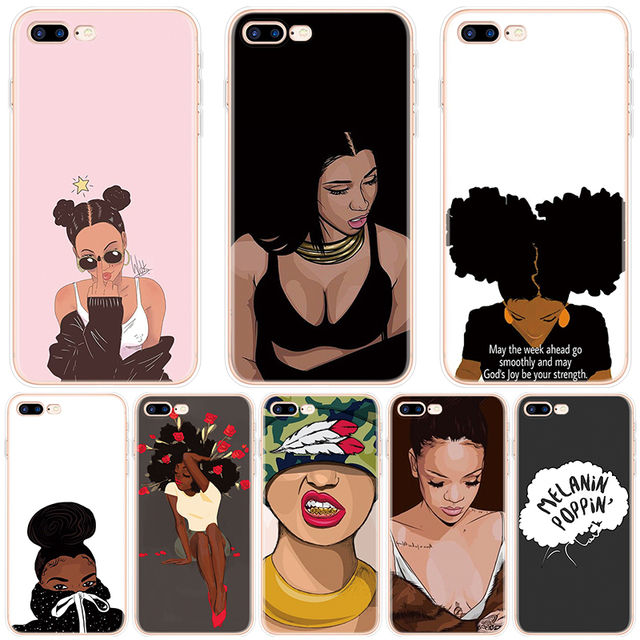 buy online d6e26 b39ac US $0.94 15% OFF|Black Girl Afro Melanin Poppin Aba FOR iPhone 10 X XS Max  XR Case For iPhone 6S 6 4 4S 5 5S SE 7 8 Plus Case For iPhone 8Plus-in ...