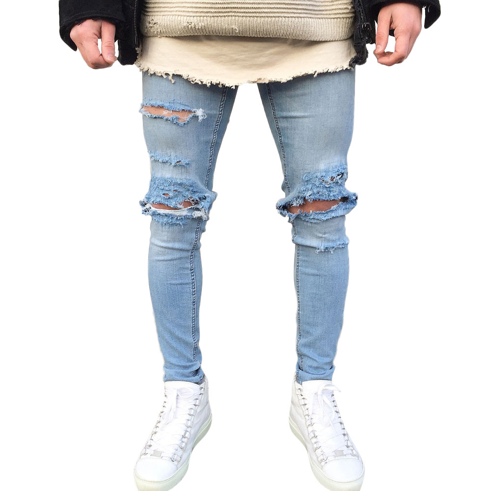 Men's Stretchy Ripped Skinny Biker Jeans Destroyed Taped Slim Fit Denim Pants #wm6