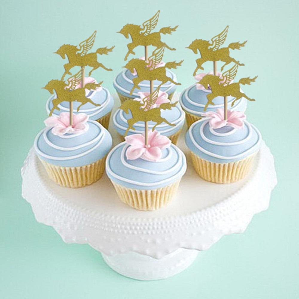 10 Pcs Goud Zilver Eenhoorn Cake Topper Glitter Paard Cupcake Topper Voedsel Picks Voor Kids Baby Shower Birthday Party Cake Decor