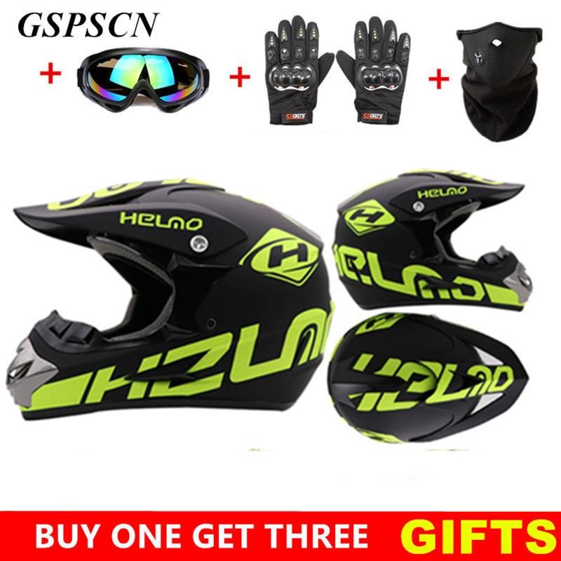 BOZXRX Get Three Gifts Motorcycle Men Motocross Off Road Match Helmet Protective Helmets ATV Dirt Bike Downhill MTB DH Capacete