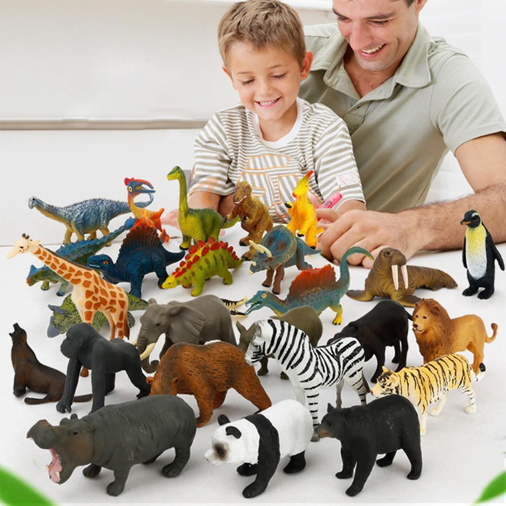 Dinosaur Play Set Jurassic World Educational Toys Set Of 12 Marine Life Wild Animal 18 Road Sign 8 Kinds Of Cars And Play Mat 30