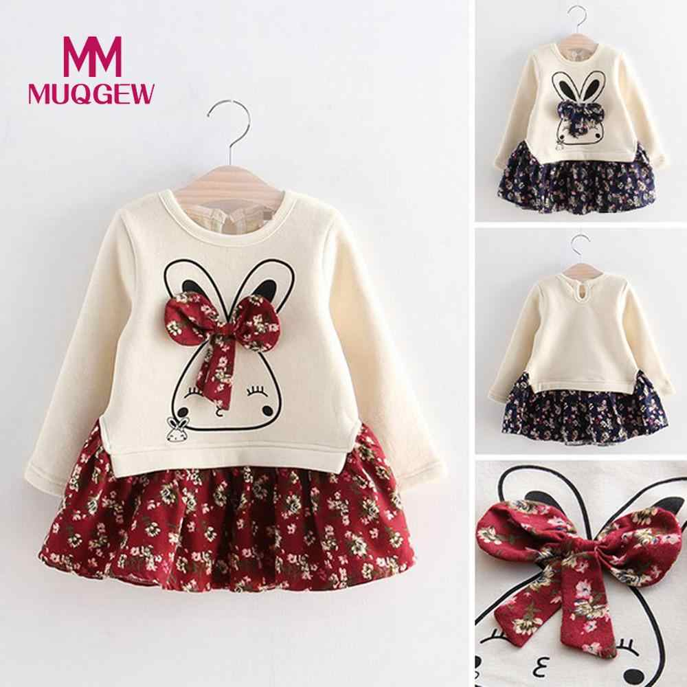 MUQGEW Fashion Cute Toddler Kids Baby Girl Cartoon Rabbit Bunny Floral Bow Princess Party Dress Long Sleeve Clothes Vestidos HOT