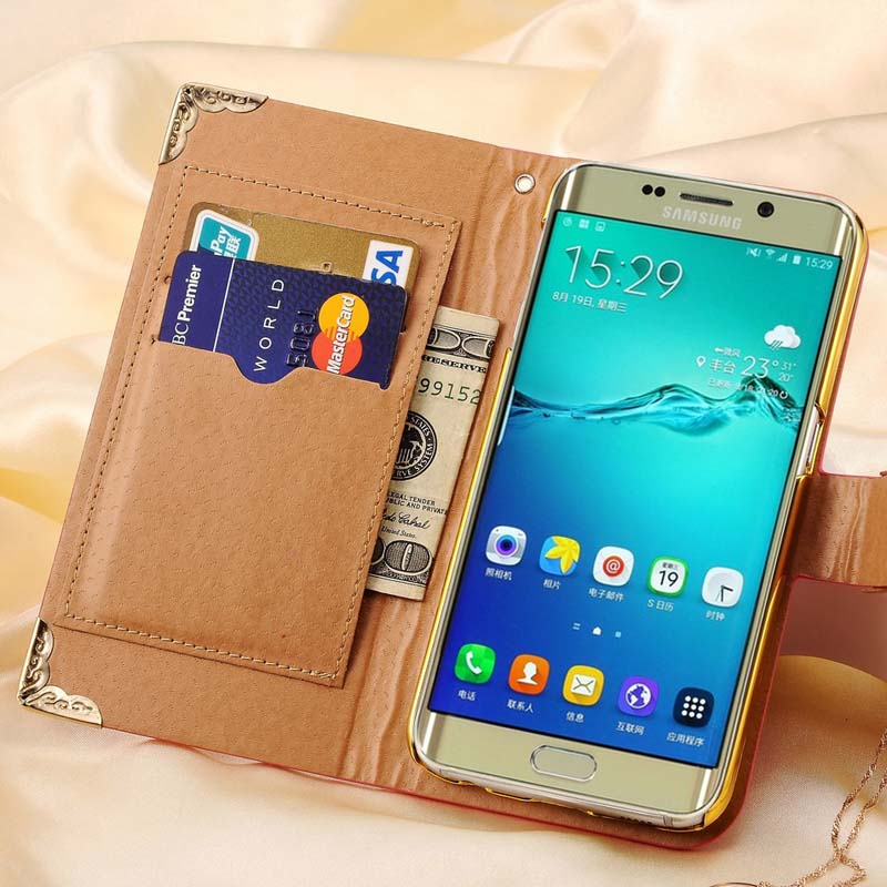 buy online 5e71e c47a5 US $4.98 |S6 Edge Plus PU Leather Flip Wallet Case For Samsung Galaxy S6  Edge Plus Bling Rhinestone Luxury Coque For Samsung S6 Edge Plus on ...