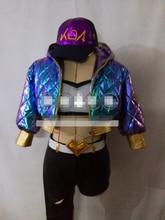 Anime KDA Akali cosplay costumes LOL Idol singer new skin kda akali blue punk jacket iridescent colors coat hat bag customized A