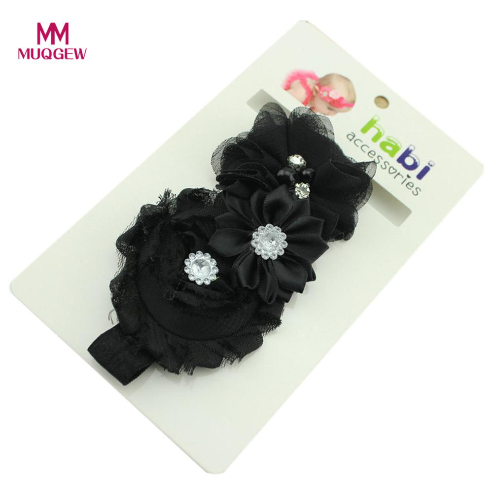2018 new arrival fashion Babys Headbands Pearl Chiffon Flower Hairband Bandeau Banda para el cabello 8 color baby hairband