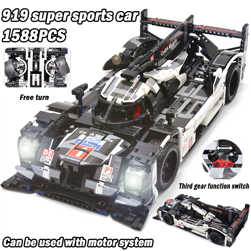 CADA Creator Technic Super Sports RC Car Speed Champions Power Function Motor MOC Building Block Bricks