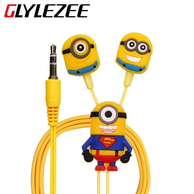 Glylezee Cartoon Minions Earphone Headset Earbuds In-Ear 3.5mm Wired Earpieces for Cellphone MP3 Music Player
