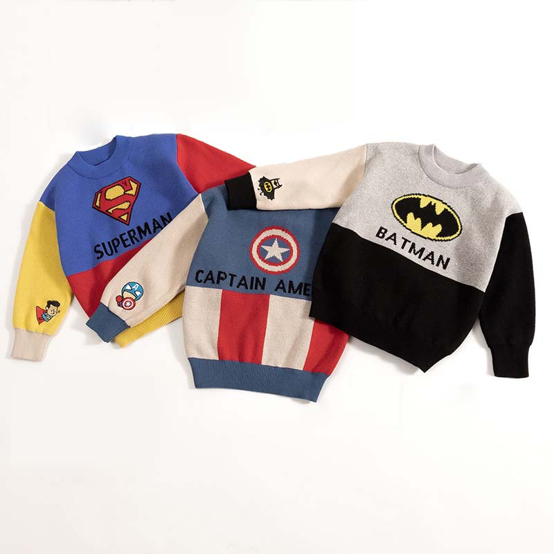 Kids Boys Cartoon Sweaters Casual Children Knit Autumn Warm Pullover Sweater For Boy Toddler Long Sleeve Wear Appliques Clothes 1