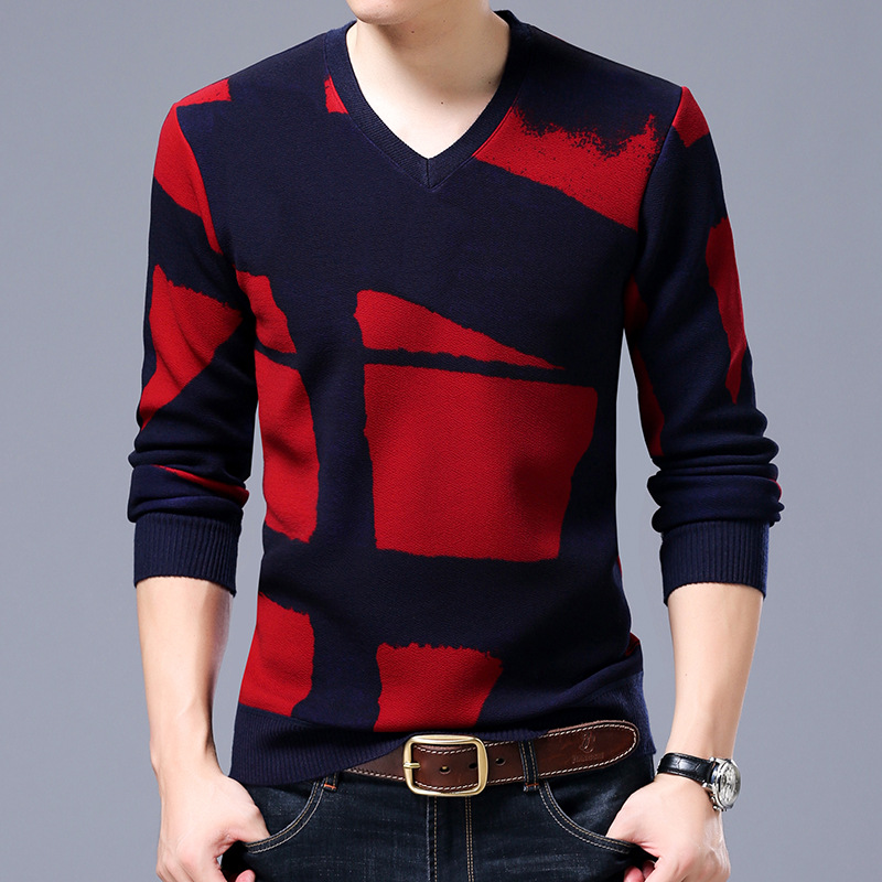Autumn And Winter Warm Pullovers Man Fashion Design V Neck Long Sleeve Bussiness Sweter  ...