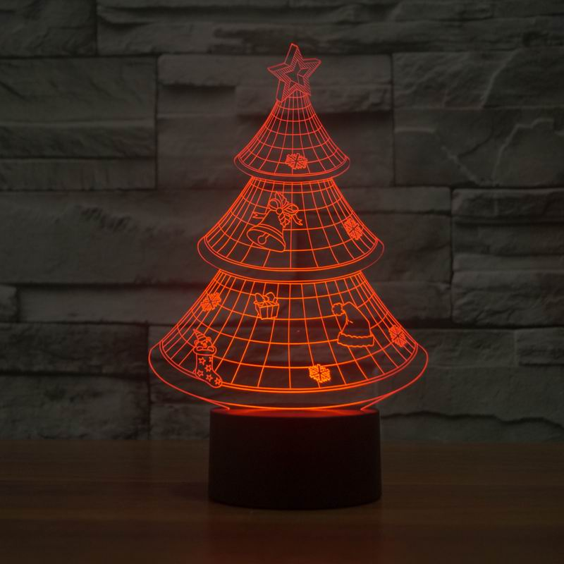 1x christmas tree 3d night light holiday birthday gift 7 color changing night lamp nice christmas gift toy for baby kids in night lights from lights