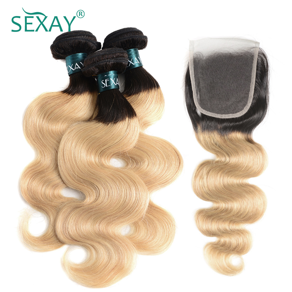 SEXAY Blonde Hair 3 Bundles With Lace Closure 1B/27 Dark Roots Brazilian Body Wave Non Remy Hair Ombre Bundles With Closure