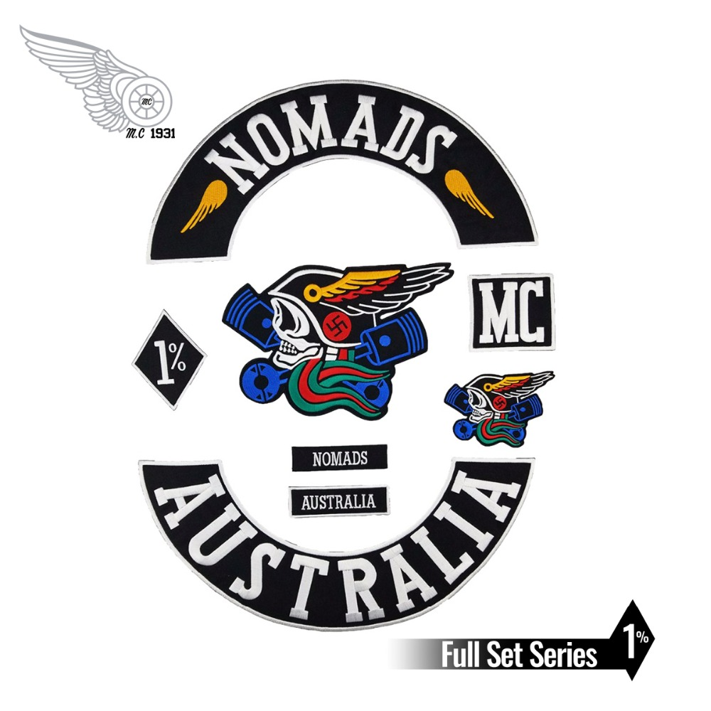 Free shipping NOMADS AUSTRALIA custom sew iron on biker patches Motorcycle vest jacket embroidery patches