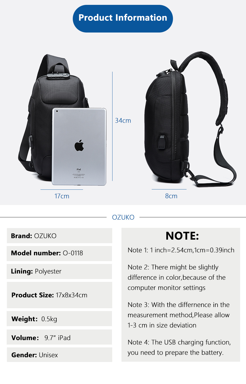 OZUKO 2019 New Multifunction Crossbody Bag for Men Anti-theft Shoulder Messenger Bags Male Waterproof Short Trip Chest Bag Pack 3