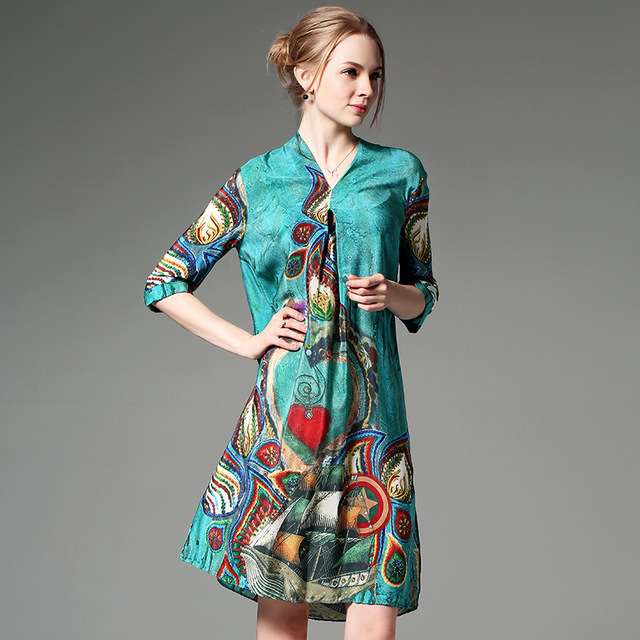 a51af7b5022db Sold out 100% Silk Crepe Dress Bohemian Style Summer Dress Printed Peacock  Blue Fashion New