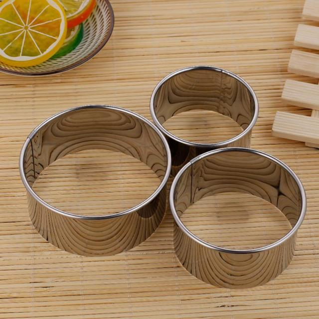 3pcs/set Stainless Steel Round Dumplings Wrappers Molds Set Cutter Maker Tools Round Cookie Pastry Wrapper Dough Cutting Tool