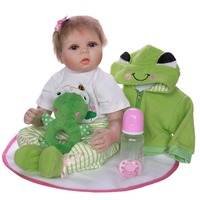 new Bebe Reborn 50 55cm soft Silicone Reborn Baby Dolls and Green frog clothes Soft Cloth Newborn Babies girls boy Toys Gifts