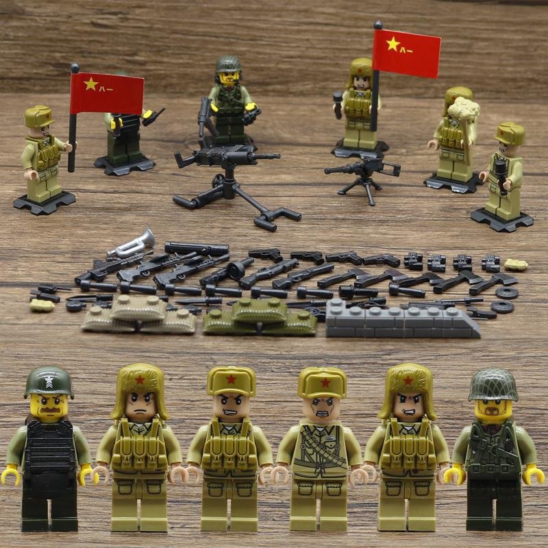 Legoinglys Figures World War 2 WW2 Sino-Japanese War Chinese Eighth Route  Army Military Building Block with Weapons Baby Toys