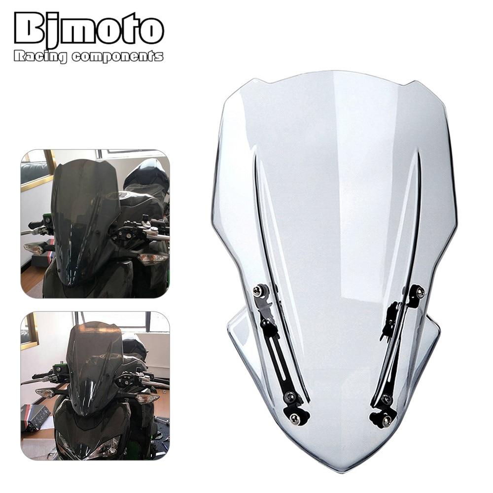 Bjmoto motorcycle motocross Stylish Clear Screen Windshield Windscreen Air Deflector With Bracket for Kawasaki Z900 2017 2018