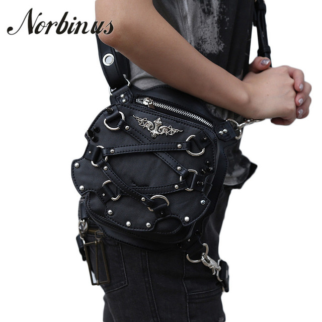 Norbinus Women s Waist Bag Steampunk Fanny Packs Women Motorcycle Drop Leg  Bag Leather Crossbody Shoulder Bags Female Travel Bag 02c0e8175f