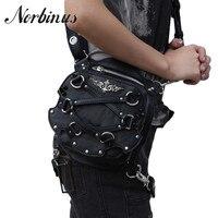 Norbinus Women's Waist Bag Steampunk Fanny Packs Women Motorcycle Drop Leg Bag Leather Crossbody Shoulder Bags Female Travel Bag