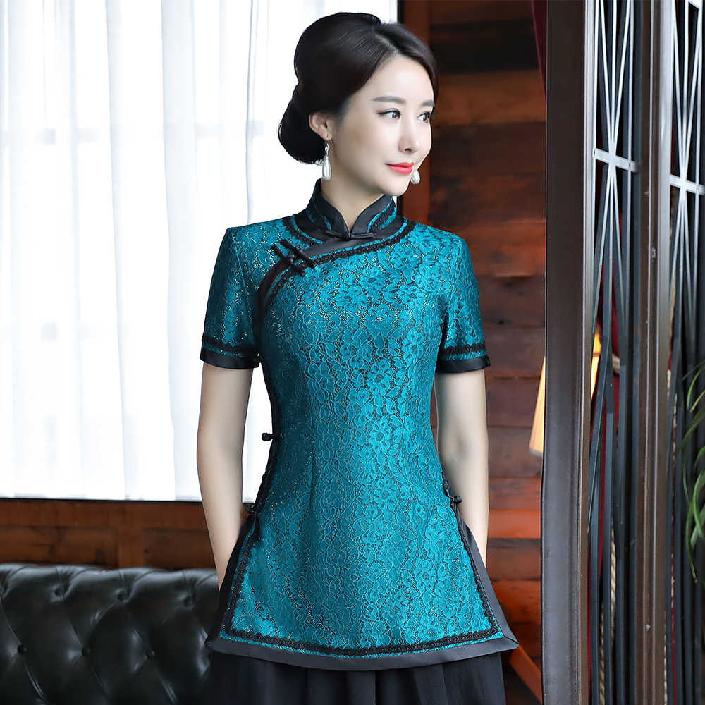 Sexy Lace Chinese Women Traditional Blouse Elegant Short Sleeve Business Clothes Classic Tang Top Mandarin Collar Shirt S-4XL