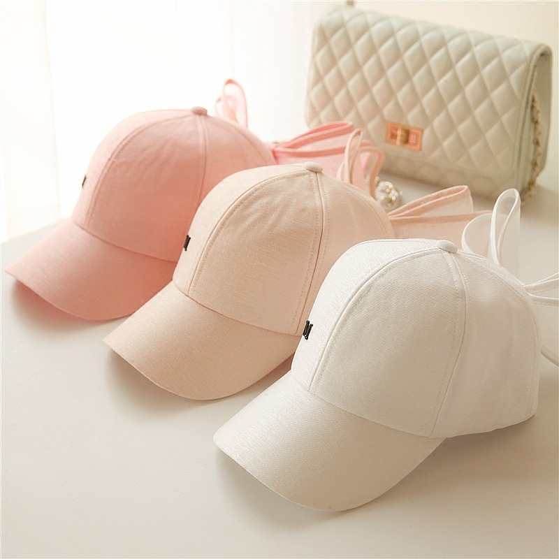 2018 New Fashion Big Bowknot Baseball Cap Korea Lovely Hats Black Pink White Colors Cotton Mesh Mark Bow Caps for Women Girls
