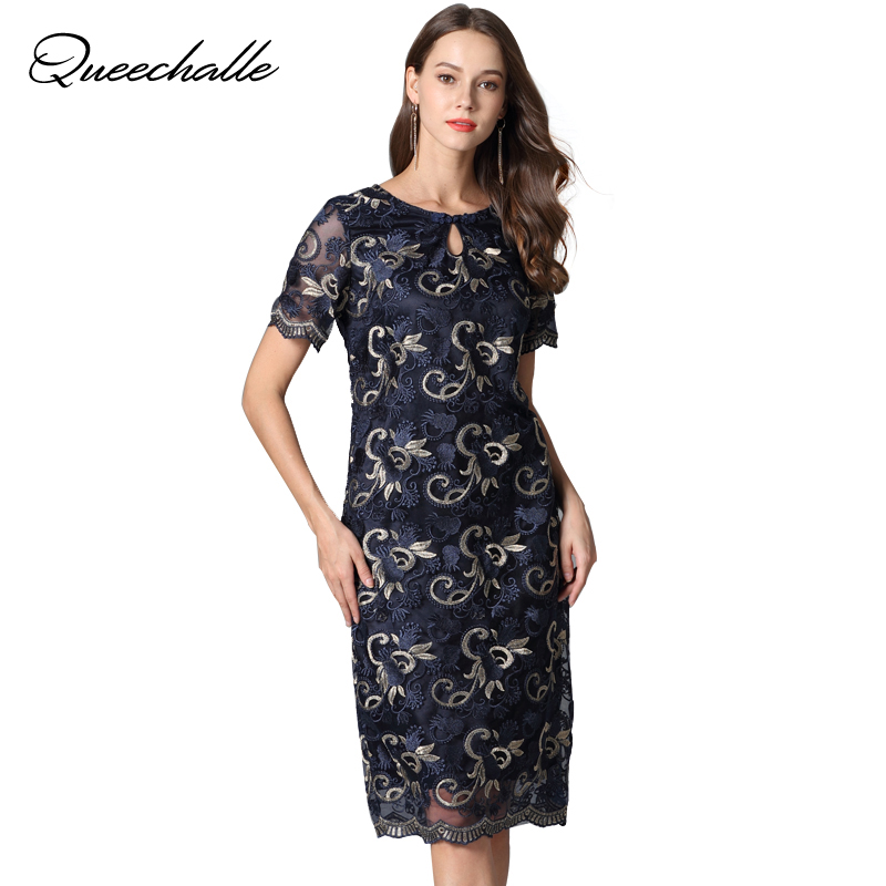 Queechalle 2019 Summer dress women floral embroidery elegant mesh dresses party bodycon lace dress plus size