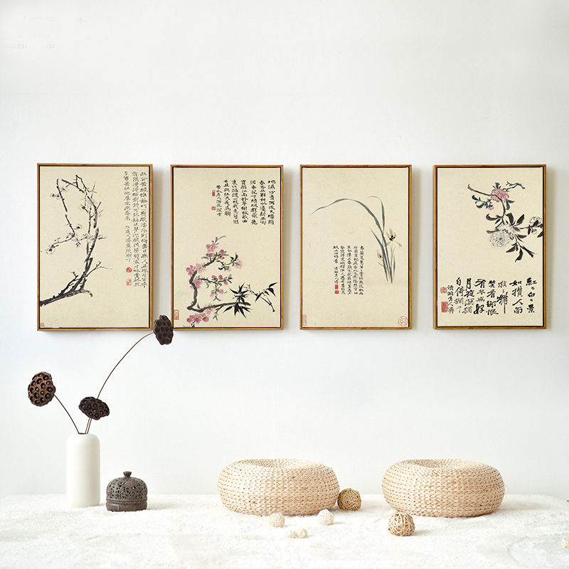 Chinese Style Plum Orchid Bamboo Chrysanthemum Ancient Poems Canvas Painting Flower Wall Art For Room Home Decoration image