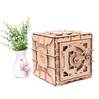 Children 3D Wooden Mechanical Password Treasure Box DIY Model Transmission Puzzle Valentine's Day Kid Creative Grow Girl Gift