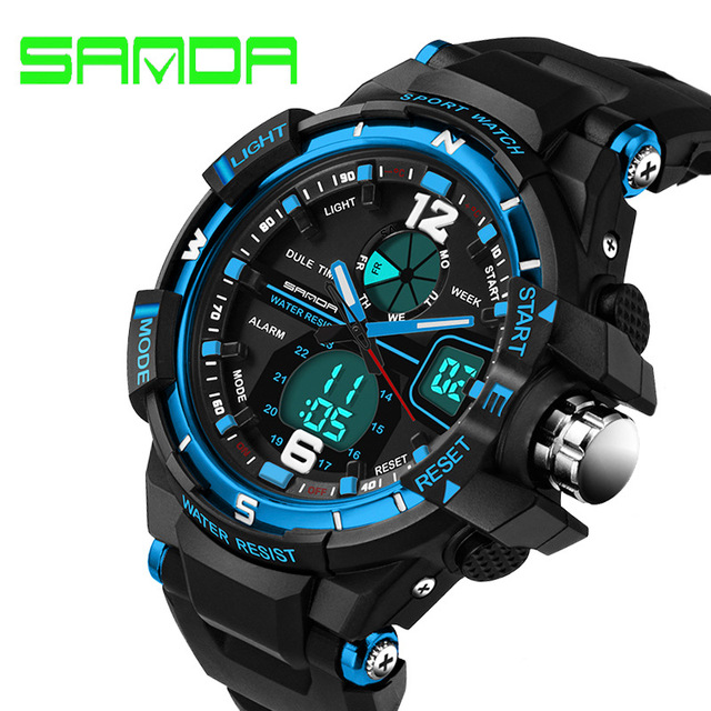 Waterprrof SANDA Marca de Luxo Relógios dos homens de Borracha Quartz Analógico Digital LED Militar Do Exército Relógio Do Esporte Masculino Relogios masculinos