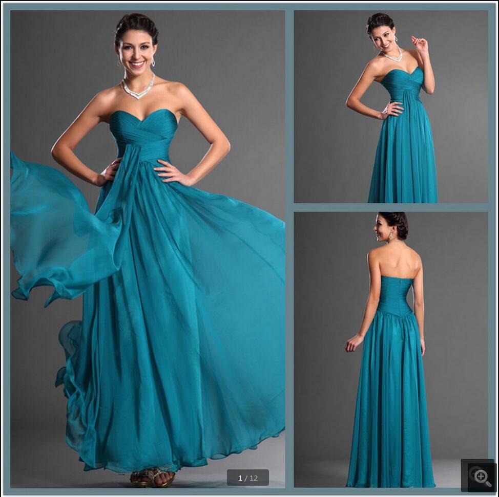 Glamorous Sweetheart Neck Chiffon A Line Evening Dress 2016 Floor Length Pleated Flowy Evening Gowns Best Selling