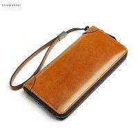 2019 Cowhide Men Clutch Wallets Genuine Leather Long Purses Business Large Capacity Wallet Double Zipper Phone Bag wallet men