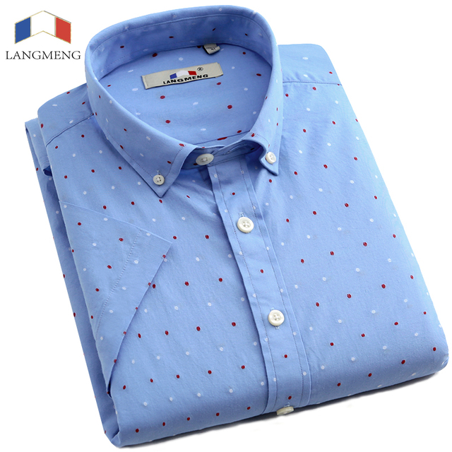 LANGMENG Brand 2016 Men Shirt Short Sleeve casual Shirts Slim Fit mens Clothing Fashion Dyed Dot Camisa Masculina chemise homme