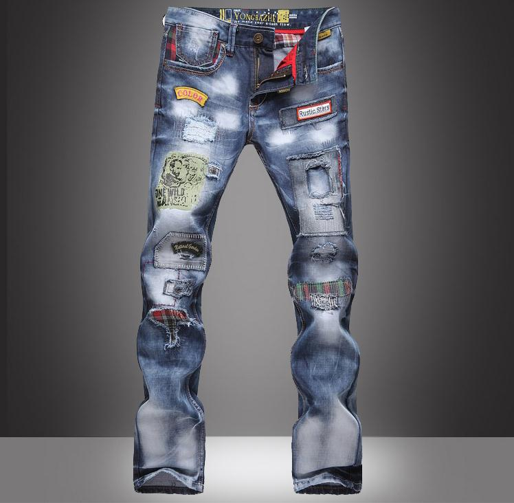 ФОТО High quality 2017 Fashion Brand jeans Men homme cotton Street Dance Hip Hop spot male cowboy Ripped Straight trousers hole HOT
