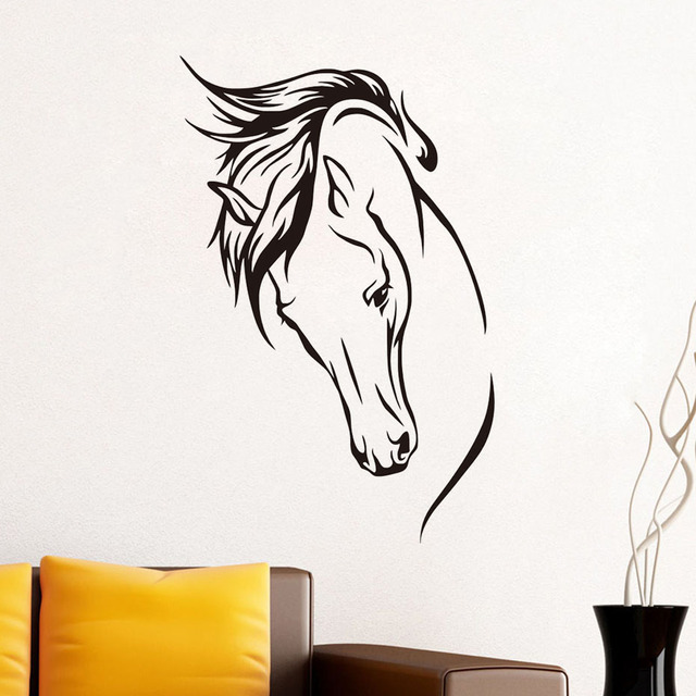 DCTOP Hot Sale Vinyl Removable Wall Decal Head Of Horse Wall Sticker Wall  Murals Living Room Part 48