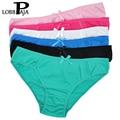 Lobbpaja marca muito 5 pcs mulher underwear calcinhas de algodão das mulheres sólida bonito Bow Low-Rise Sexy Ladies Calcinhas Das Meninas Lingerie M L XL