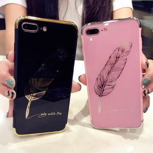 Black Pink Feather Case For iP