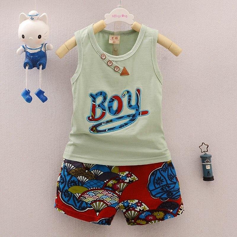 Kids Boys Summer Clothing Sets 2017 New Sleeveless Letter Vest tops + Print Floral Shorts Children Cotton Sports Suit