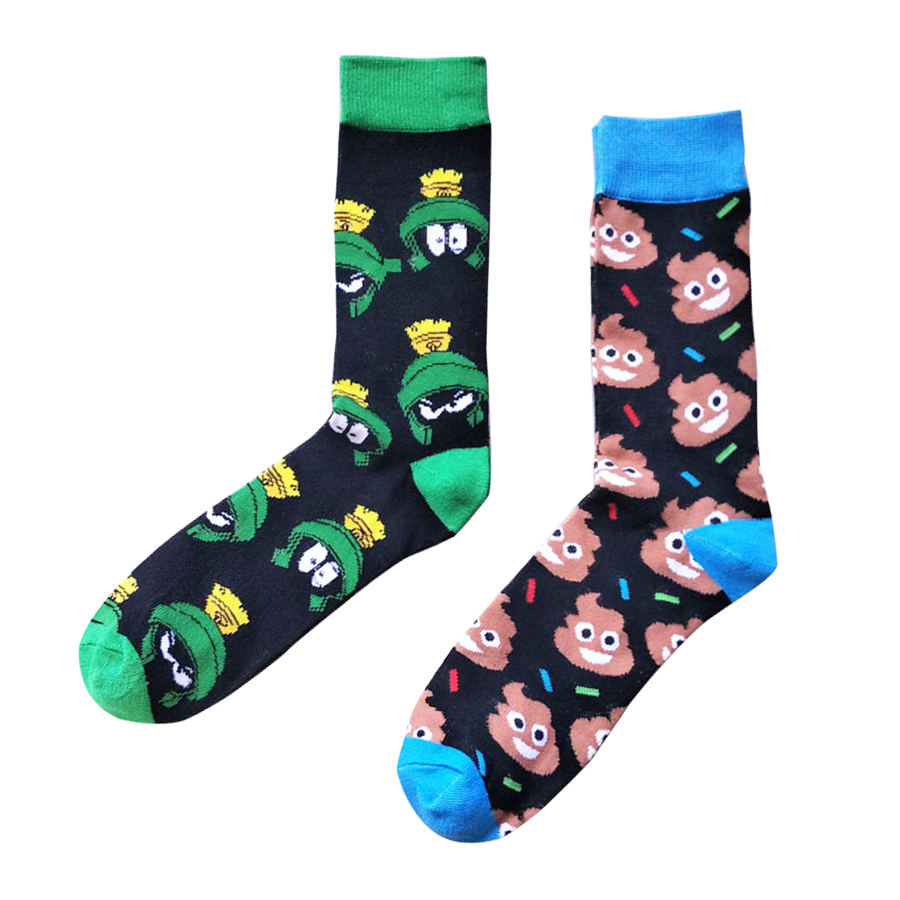 Mens Sock Personality Harajuku Socks Funny Cartoon Lovely Animal Frog Color Spell Pick Sock Man Cotton Casual Street Socks
